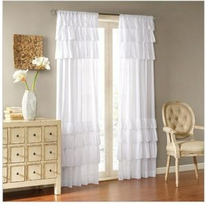 1 ruffle curtain panel